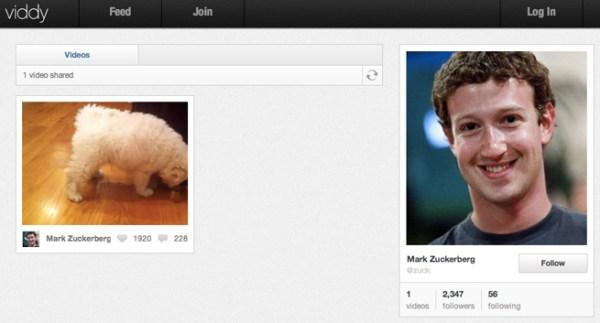 Mark Zuckerberg (and his dog) on Viddy