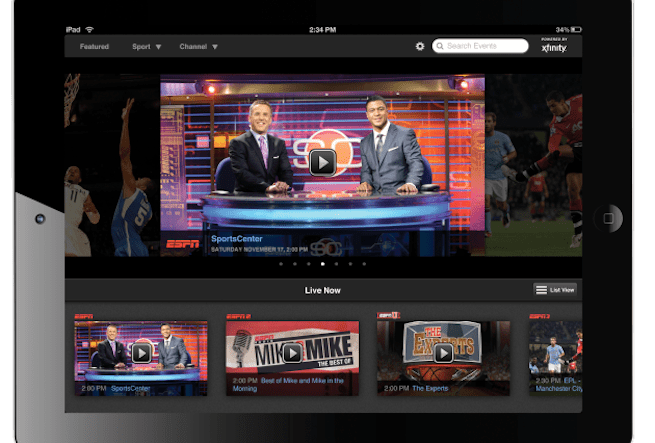 WatchESPN via Comcast Xfinity TV