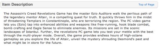 Assassin's Creed: Revelations (Walmart.com)