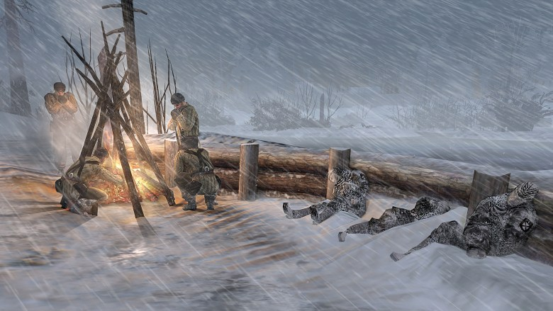A group of soldiers huddles near a fire, frozen comrades lie nearby.
