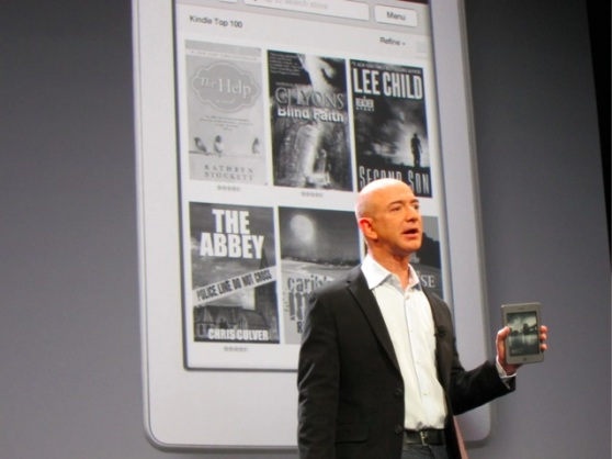 Amazon's Jeff Bezos with the original Kindle