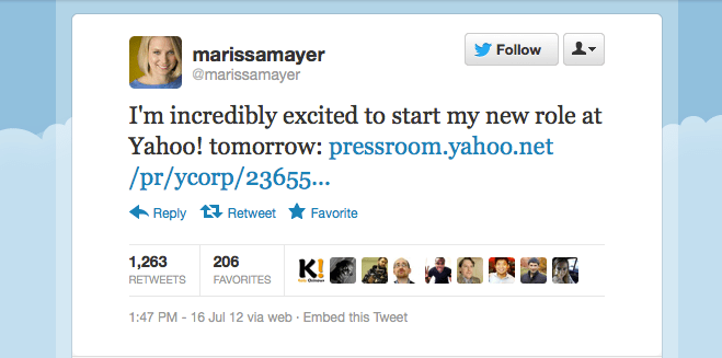 Marissa Mayer tweet