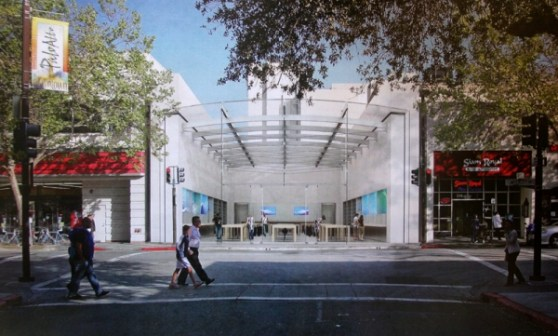 Rendering of the new Apple store at 340 University Ave., Palo Alto