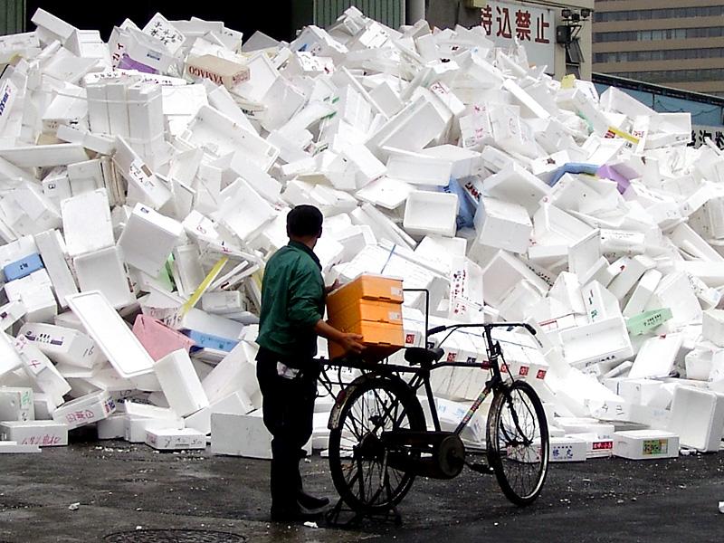 A huge pile of styrofoam packaging material.