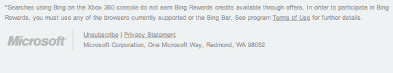 Bing Rewards Xbox disclaimer