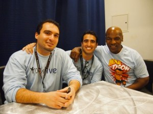 From left: John Shahidi, Sam Shahidi, and Mike Tyson