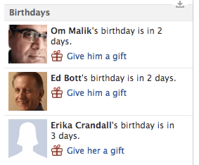 Facebook's Gift suggestions