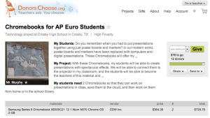 A campaign for Chromebooks on DonorsChoose.org