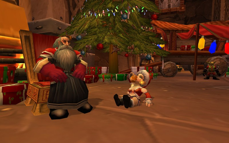 More so than perhaps any other game on this list, World of Warcraft is going all-out for Christmas. Adventurers in Azeroth are currently enjoying the Feast of Winter Veil, with Greatfather Winter visiting major cities in search of milk and cookies. Tons of new items, activities, unique snowman, reindeer pets, and even bosses have been temporarily inserted into the game.
