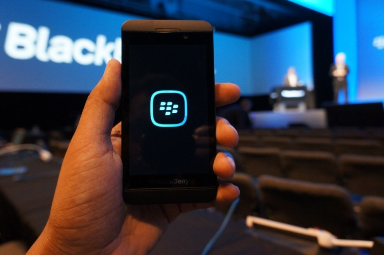 The BlackBerry Q10 smartphone at the BB10 launch.