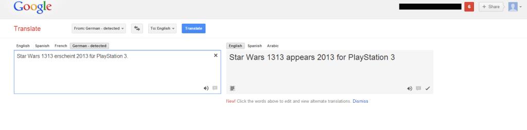 Star Wars 1313 Google Translate
