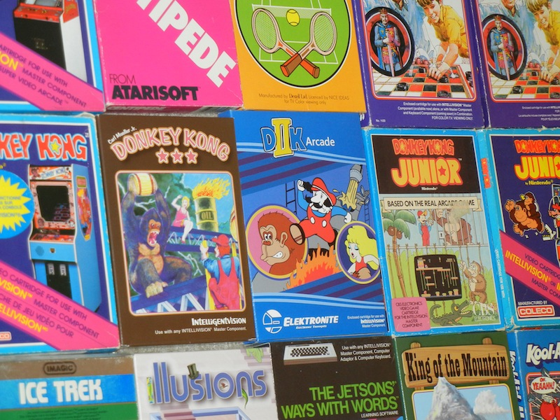 New games sit comfortably alongside vintage titles in Rick Reynolds' Intellivision collection.
