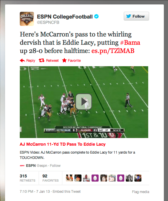 Twitter ESPN video embed