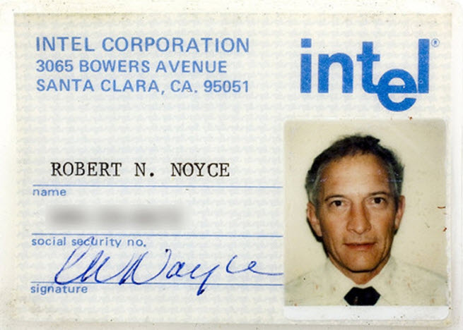 The Intel ID card of Bob Noyce, co-founder of Intel