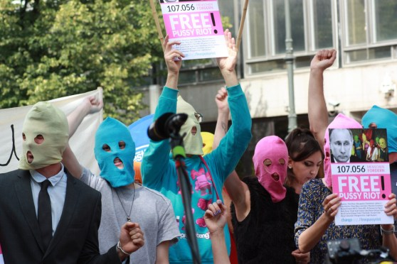 Protestors in Berlin support the band Pussy Riot