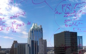 Developer diagrams on a window at the Capital Factory