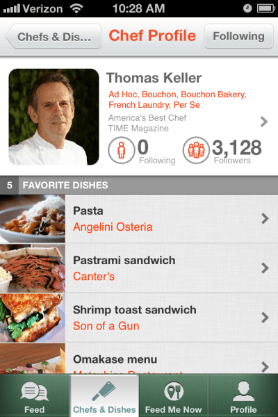 Sample Chef Profile Screen