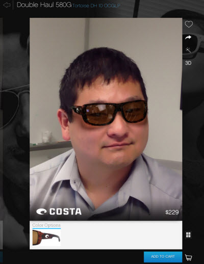 Dean Takahashi with Glasses.com app