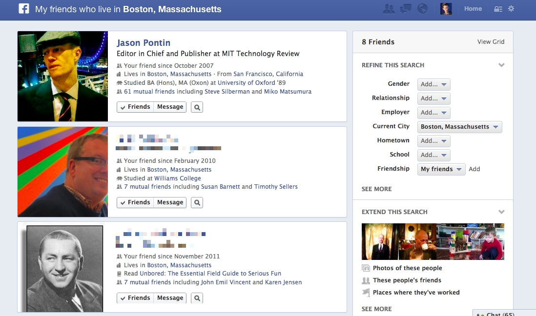 friends in Boston - Facebook graph search