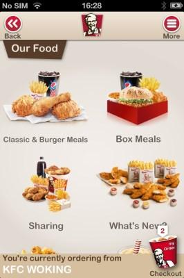 KFC's new mobile ordering app
