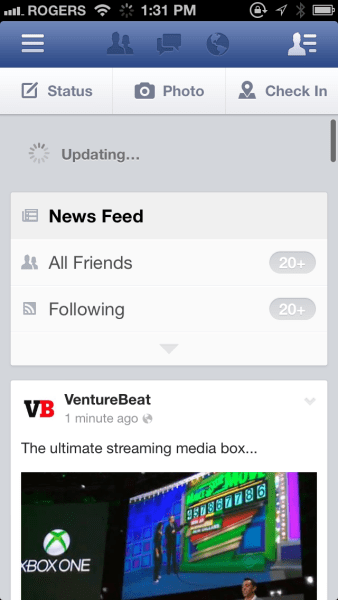 Facebook's mobile app on iOS uses a version of pull-to-refresh