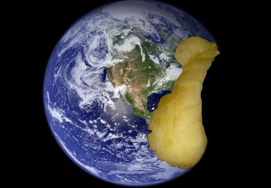 apple globe eaten