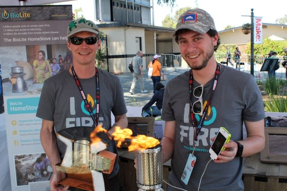 BioLite founders Alec Drummond (left) and Jonathan Cedar at Maker Faire Bay Area 2013