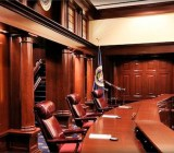 The courtroom for the United States Court of Appeals for the Federal Circuit.