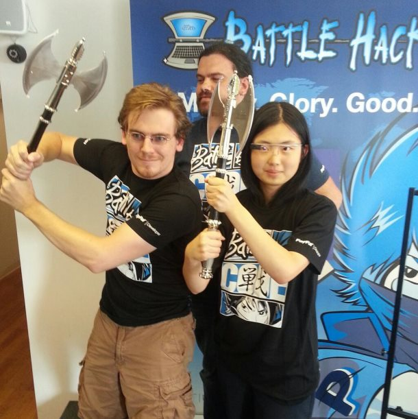 PayPal's BattleHack NYC winners Brian Kehrer and Yosun Chang, and dev relations head John Lunn (back).