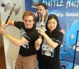 PayPal's BattleHack NYC winners Brian Kehrer and Yosun Chang, and dev relations head John Lunn (back).