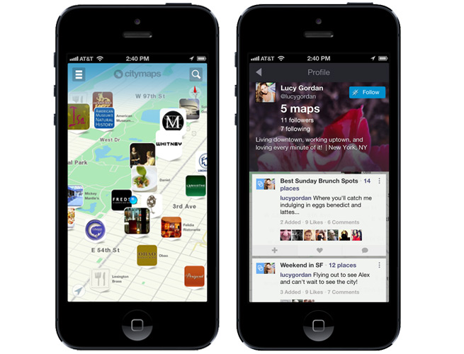 CityMaps' app for iPhone