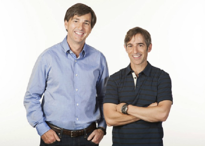 Don Mattrick and Mark Pincus pose for when Mattrick was named Zynga's CEO in 2013.
