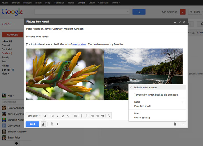 Gmail's full-screen compose option
