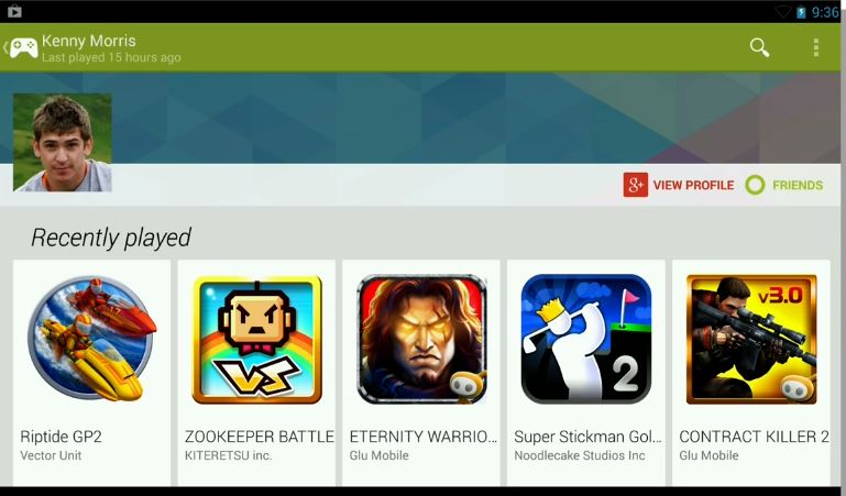 Recently played games list on Google Play Games app.