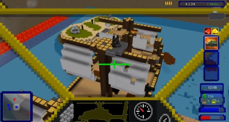 A player flying a helicopter in Guncraft.