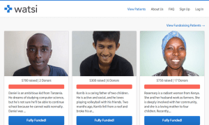 Watsi provides loans to people who need medical help