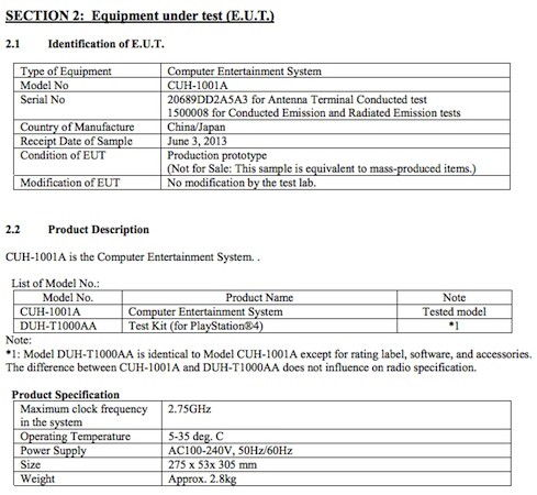 PlayStation 4's FCC report.