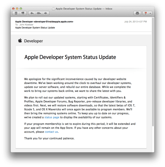 apple developer site down