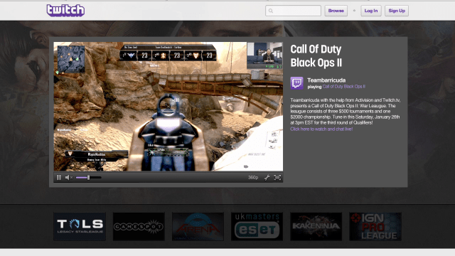 Twitch broadcasting on its homepage.