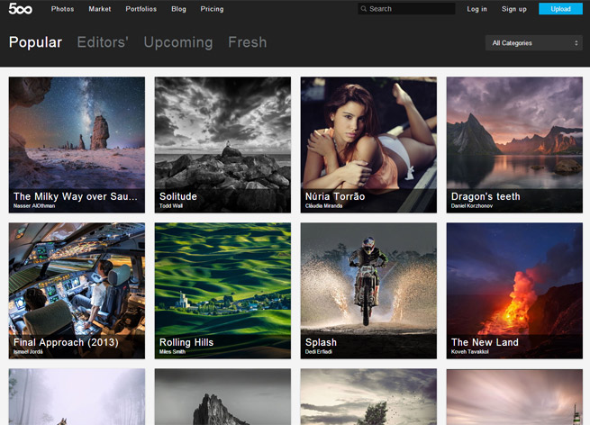 500px's homepage