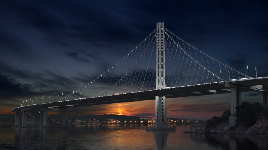 The new eastern span of the Bay Bridge, as a future dawn breaks gloriously over Oakland.
