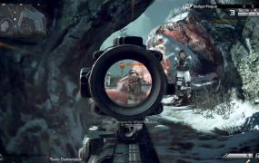 Looking down a rifle's scope in Call of Duty: Ghosts.