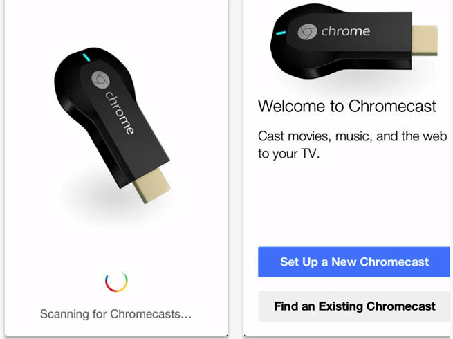 Screens of the new Chromecast app on iOS