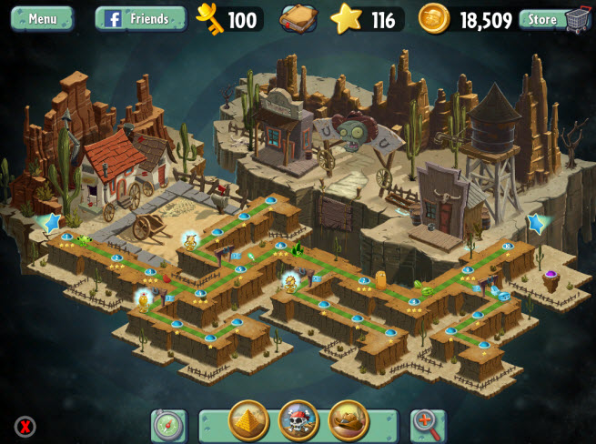 Plants vs. Zombies 2. Wild West map.