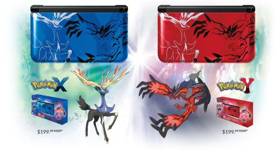 The Pokémon X and Y 3DS XL systems.