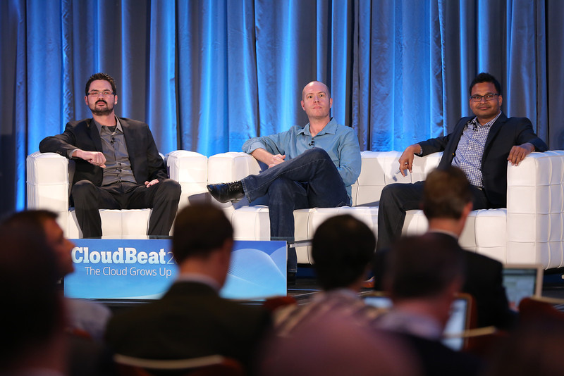 Joe Onisick of Define the Cloud, John Martin of Edmunds.com, and Jyoti Bansal of AppDynamics, onstage at CloudBeat 2013.