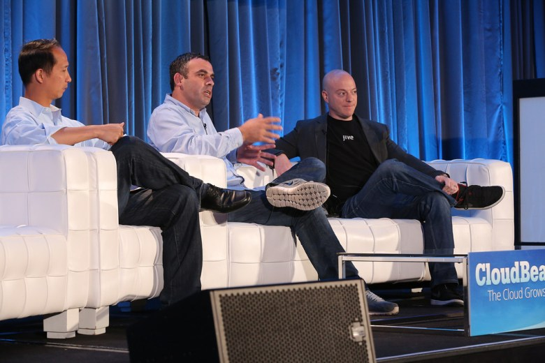 From left to right: Ping Li of Accel Partners, Guy Nirpaz of Tatango, Oudi Antebi of Jive at CloudBeat 2013 on Monday.