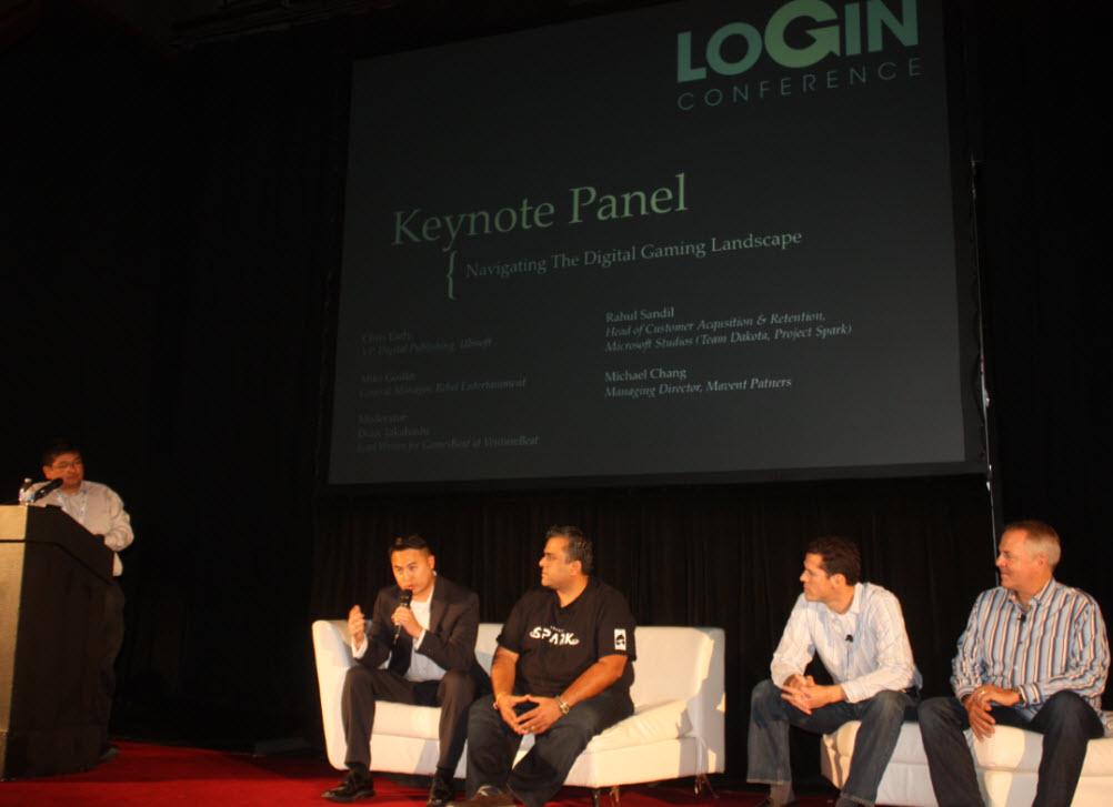 Login Keynote panel: Dean Takahashi, Michael Chang, Rahul Sandil, Mike Goslin, and Chris Early