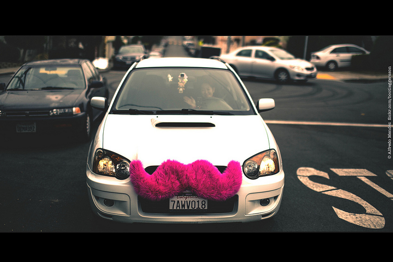 A Lyft car represents the sharing economy
