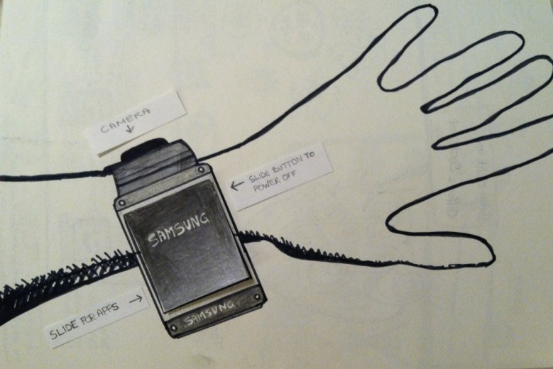 An artist's sketch of the Samsung Galaxy Gear smartwatch